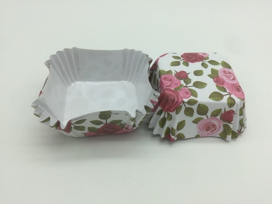 Caixas do queque do papel à prova de graxa do teste padrão de Rosa, forros florais do queque do papel quadrado